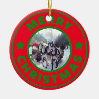Ornamento De Cerâmica Árvore de Natal do trenó do cavalo
