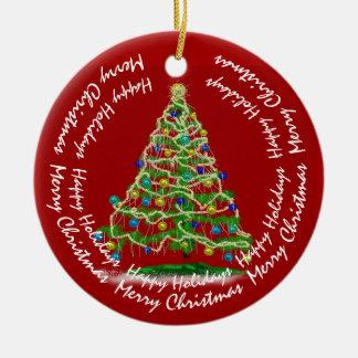 Ornamento De Cerâmica Árvore de Natal dos Arty com texto customizável