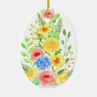 Ornamento De Cerâmica Árvore de Natal floral da aguarela