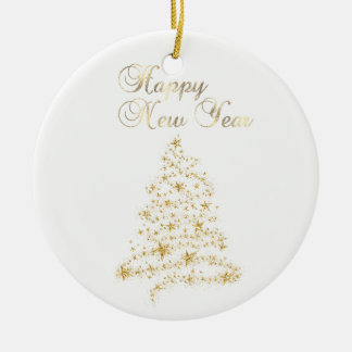 Ornamento De Cerâmica Árvore de Natal Glittery adorável do ouro do falso