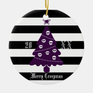 Ornamento De Cerâmica Árvore de Natal gótico com listras