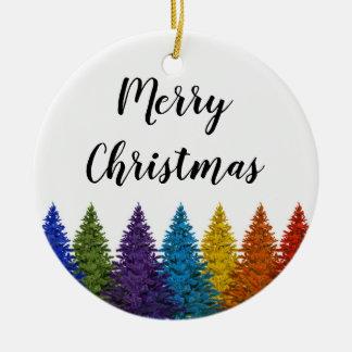 Ornamento De Cerâmica Árvore de Natal lésbica da bandeira do arco-íris