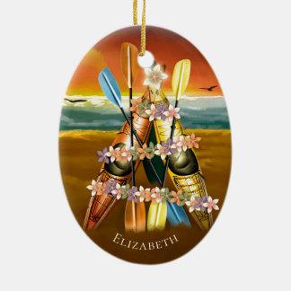 Ornamento De Cerâmica Árvore de Natal tropical Kayaking do caiaque de w