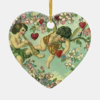 Ornamento De Cerâmica Árvore do coração dos Cupido do dia dos namorados