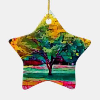 Ornamento De Cerâmica Árvore do outono em cores vívidas