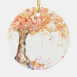 Ornamento De Cerâmica Árvore dourada abstrata da aguarela