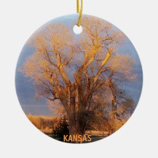 Ornamento De Cerâmica Árvore dourada do Cottonwood de Kansas
