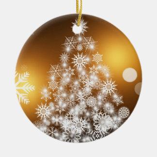 Ornamento De Cerâmica Árvore dourada do floco de neve de Bokeh do Natal
