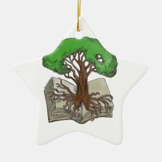 Ornamento De Cerâmica Árvore enraizada no tatuagem do livro