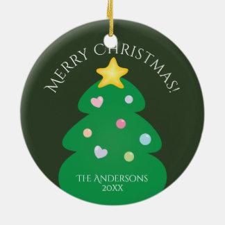 Ornamento De Cerâmica Árvore festiva colorida do Feliz Natal