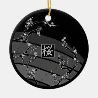 Ornamento De Cerâmica Árvore preta da flor de cerejeira
