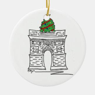 Ornamento De Cerâmica Árvore quadrada de Washington do Natal da Nova