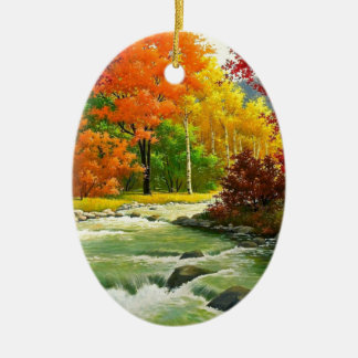 Ornamento De Cerâmica Árvores do outono pelo rio