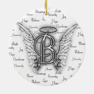 Ornamento De Cerâmica As asas do anjo com positivo exprimem o monograma