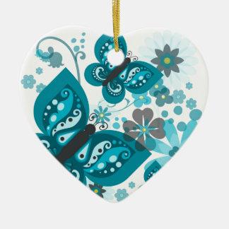 Ornamento De Cerâmica As borboletas & as flores Dble-tomaram partido