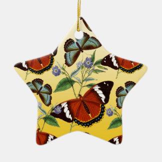 Ornamento De Cerâmica as borboletas misturam o amarelo
