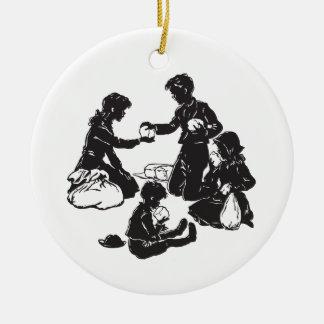 Ornamento De Cerâmica As crianças do vagão coberto: Quatro crianças com