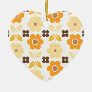 Ornamento De Cerâmica As flores amarelas retros Dble-tomaram partido