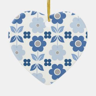 Ornamento De Cerâmica As flores azuis retros Dble-tomaram partido