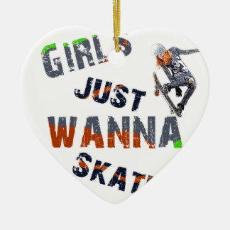 Ornamento De Cerâmica As meninas apenas querem patinar