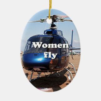 Ornamento De Cerâmica As mulheres voam: helicóptero azul