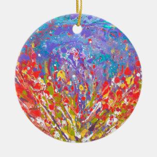 Ornamento De Cerâmica As papoilas abstraem canvas de pintura coloridas