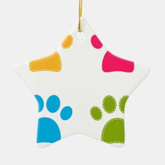 Ornamento De Cerâmica As patas maravilhosas dos cães coloriram a edição
