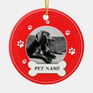 Ornamento De Cerâmica As patas vermelhas do cão de great dane imprimem o