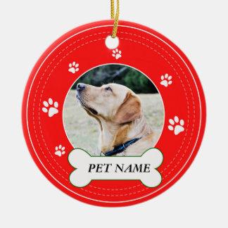 Ornamento De Cerâmica As patas vermelhas do cão de Labrador imprimem o