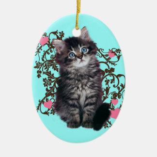 Ornamento De Cerâmica As senhoras do gato exultam o gatinho bonito
