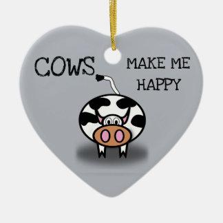 Ornamento De Cerâmica As vacas fazem-me feliz