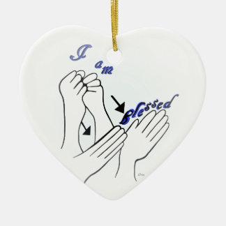 Ornamento De Cerâmica ASL eu sou abençoado