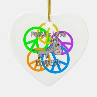 Ornamento De Cerâmica Asnos do amor da paz