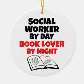 Ornamento De Cerâmica Assistente social do amante de livro