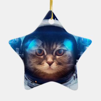 Ornamento De Cerâmica Astronauta do gato - gatos no espaço - espaço do