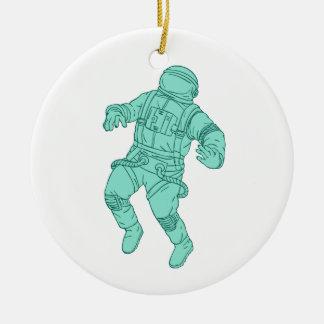 Ornamento De Cerâmica Astronauta que flutua no desenho do espaço