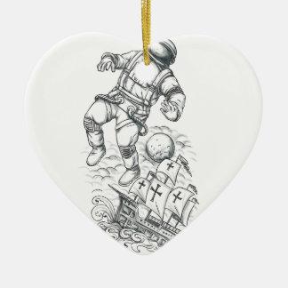 Ornamento De Cerâmica Astronauta Tethered ao tatuagem de Caravel