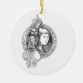 Ornamento De Cerâmica Athena com a coruja no Cir do circuito eletrônico