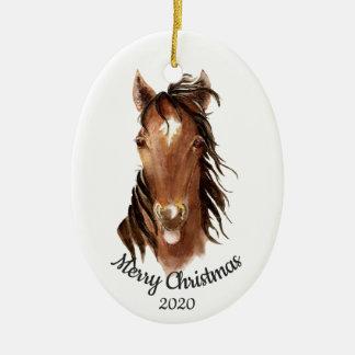 Ornamento De Cerâmica Atitude feita sob encomenda do cavalo da aguarela