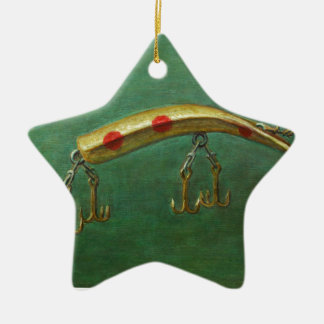Ornamento De Cerâmica Atração vermelha da pesca do ponto