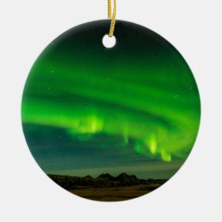 Ornamento De Cerâmica Aurora boreal verde bonita de Islândia