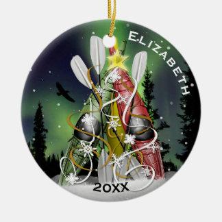 Ornamento De Cerâmica Aurora Borealis da árvore de Natal do caiaque