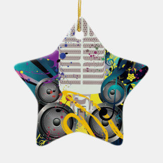 Ornamento De Cerâmica Auto-falante do Grunge e Microphone3