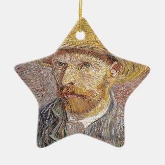 Ornamento De Cerâmica Auto-Retrato com um chapéu de palha - Van Gogh