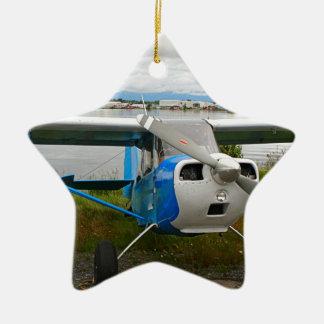 Ornamento De Cerâmica Aviões altos da asa, azul & branco, Alaska