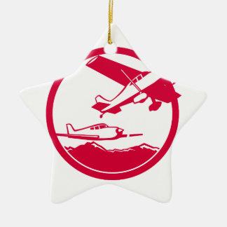 Ornamento De Cerâmica Aviões de asa fixa que descolam o círculo retro