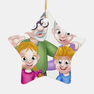 Ornamento De Cerâmica Avós e netos dos desenhos animados