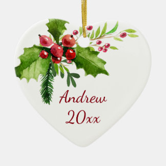 Ornamento De Cerâmica Azevinho da aguarela do Feliz Natal