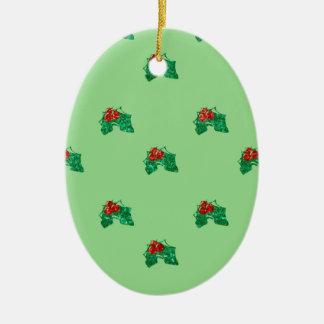 Ornamento De Cerâmica azevinho do Natal do sequin