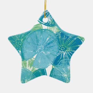 Ornamento De Cerâmica Azuis da almofada de lírio